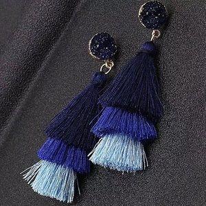 New Anthro Tassel Blue Earrings